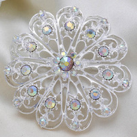 Fashion Rhinestone Silver Round Flower Women Wedding Brooch Pins T-1