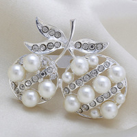 Fashion Exquisite Silver Cherry Rhinestone Pearl Women Wedding Brooch