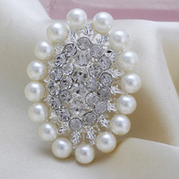 Fashion Cheap White Oval Flower Rhinestone Pearl Women Wedding Brooch