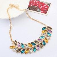 Leaf Feather Acrylic Gem Dress Gold Collar Choker Statement Necklaces & Pendants New 2014 Fashion Jewelry Women Wholesale N161