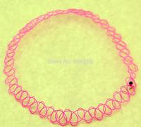 free  Peach pink Tattoo Choker Stretch Necklace Retro  Elastic Boho 90s 80s new hot