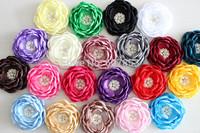 2014 Baby Kids Burned edges flower Romantic Satin Fabric Hair flower,ruffled curly rhinestone flower ,FLAT BACK 120PCS 8cm