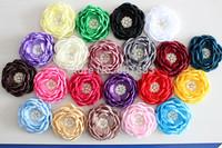2014 Baby Kids Burned edges flower Romantic Satin Fabric Hair flower,ruffled curly rhinestone flower ,FLAT BACK 20PCS 8cm