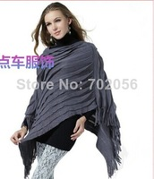 2014 winter trend knit ponchos Leisure Cardigan Knitting Coat lady Batwing Cape Poncho shawl wraps Sweater #3612