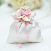 Free Shipping 100pcs Pink Satin Candy Bags,Wedding Favors Bags with Flowers,Party Gift Favor Bags,With All decoration delivered