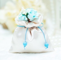 Free Shipping 100pcs Blue Satin Candy Bags,Wedding Favor Bags with Flowers,Party Gift Favor Bags,With All decoration delivered