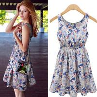 Autumn Dress Women's Dress Natural Worsted A-line European Style Round Neck Sleeveless Floral Waist Hot Sale New 2014 Summer
