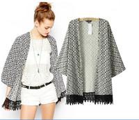 hot sale 2014 new arrival causal fashion vintage women geometric print lace open stitch coats