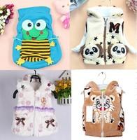2014 New Winter High Quality Cartoon Tiger Frog Panda Baby Boys Girls Thickening Vest Infant Warm Vests