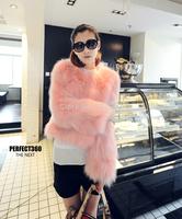 2014 winter/autumn fox fur coat women fashion luxury rabbit fur wool waistcoat cape Pink  lady faux fur short jacket ,from Korea