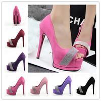 2014 Women Shoes Basic Diamond Peep Platform Pointed Toe Spike Heel Wedding High Heels Party Sexy Pumps Size 34-39 Free Shipping