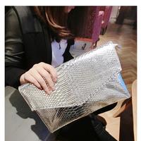 2014 New Fashion Women's sliver Faux Leather lady Bag Snake Skin Envelope Bag Day Clutche Purse Evening Bag JY51