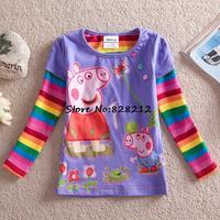 Retail!Peppa Pig Casual T-shirt Girl Fashion T-shirt Clothing Autumn Fall Hot Selling Baby Clothing T-shirts Garment 1pcs