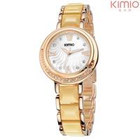 New 2014 Fashion Analog Quartz Watch Women Kimio Luxury Crystal Rhinestone Ceramic Wristwatch