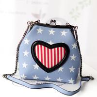 2014 heart print mini shell small bag women's handbag fashion messenger bag free shipping