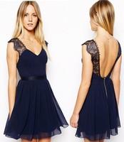 Wholesale casual women summer dress vestido rendado chiffon party dress 2015 vintatge backless tropical beach dress blue