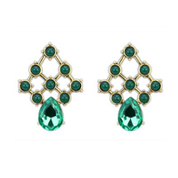 New 2014 Luxury Green Crystal Waterdrop Emerald Stud Earrings For Women Free Shipping DL101051