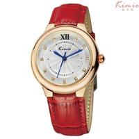 2014 New Fashion Kimio Brand Quartz Wrist Watch Casual Dress Watches Leather Bracelet Flower Dial
