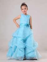 Organza Blue Long 2014 Long Flower Girl Dress with Flower Decorate