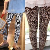 4pcs/lot 2014 autumn spring new arrival girls fashion zebra leopard and flower printed leggings kids skinny legging 9 color  046