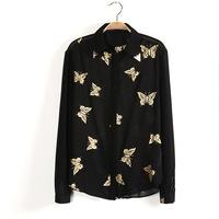 Korean Stylish Women Vintage Shirt  Gold Stamp Collar Casual Tops Butterfly Print Long Sleeves Women Shirt