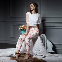 YIGELILA 5195 New In 2014 Europe Summer Print Pencil Skinny Pants Capris Free Shipping