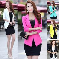 NEW 2014 Brand Blazer  women ladies solid suit  feminine  jackets fashion desigual candy color