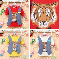 2014 autumn new arrival Children cotton top baby girl boy False two pieces  t shirt kid longsleeve tiger head clothing 4pcs/lot