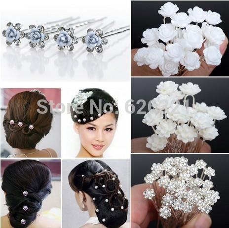 Wholesale 20/40PCS Wedding Bridal Pearl Hair Pins Flower Crystal Hair Clips Bridesmaid 5 Styles Drop Free Shipping(China (Mainland))