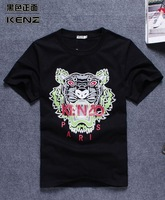 Sell like hot cakes! Embroidery big tiger sweethearts outfit men and women t-shirts with short sleeves. Free shipping