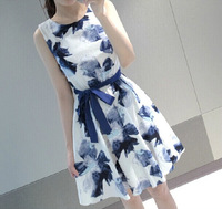 Fast/Free shipping Female Fashion A-line Casual Print Sleeveless Linen Dresses Women Clothing Summer Dress 2014 A1075