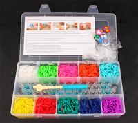10colors/box Fashion Style 2014 DIY loom bands crazy loom Twistz Bandz 2000 rubber bands+1hook+1 loom+ 48 S-Clips+10charms