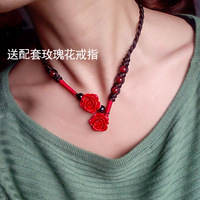 Free  shipping National trend accessories handmade accessories carved lacquer rose chain long design necklace female