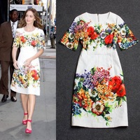 2015 fashion new o neck short sleeve women's high quality cotton jacquard gorgeous floral print boutique dress free shipping