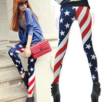 Milk Silk American Flag Stripe Patchwork Ankle Length Legging Female Personality Skinny Pants Leggings