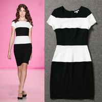 2014 Spring and summer runway fashion women's knitted color block stripe slim dress