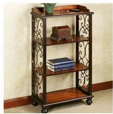 wrought iron frame wood shelving storage rack shelf display rack promotional price of home. Black Bedroom Furniture Sets. Home Design Ideas