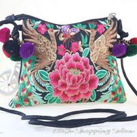 Original New National Embroidery Bags Handmade Flowers Brid Embroidered Shoulder Messenger Bag Ladies Small Clutch Handbag