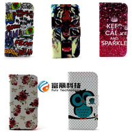 Printing Flower Owl Keep Calm Leather Wallet Cover Card Case for MOTOROLA moto g ,10pcs/lot free shippping