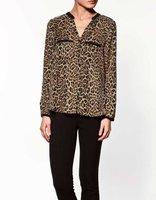 Plus Size Women Shirts Tops Sexy Shirts Vintage Long Sleeve Blouse Ladies Brown Retro Leopard V Neck Shirts New Design