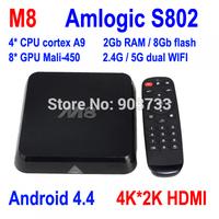 Original M8 Amlogic S802 Android TV Box Quad Core XBMC TV Box Android 4.4 Kitkat 4K HDMI 2.4G/5G Dual WiFi Free Shipping