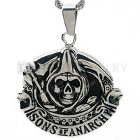 Free Shipping! 3pcs Sons of Anarchy Grim Reaper Skull Pendant Stainless Steel MEP206