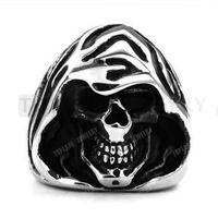 Free Shipping! 3pcs Grim Reaper Skull Stainless Steel Gothic Ring Vintage Black Silver MER207