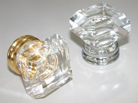 20PCS/LOT FREE SHIPPING 33MM CLEAR SQUARE CRYSTAL KNOB ON A GOLD BRASS BASE