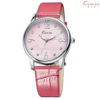 2014 New Women Dress Watch Fashion Quartz Wrist Casual Rhinestone Watch Leather Bracelet Kimio Watch