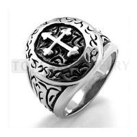 Free Shipping! 3pcs Cross Stainless Steel Unisex Ring Silver Vintage Black MER189
