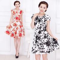 18Color M-4XL Plus Size Sexy Women Floral Dot Print Slim Dress Casual Flower Office Dress Big Large 3XL XXXL XXXXL HF4