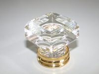 10PCS/LOT FREE SHIPPING 33MM CLEAR SQUARE CRYSTAL KNOB ON A GOLD BRASS BASE