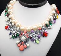 Shourouk Hand-made Olivet / pearls Rope Chain Multicolor Rhinestone Geometric Flower Bib Statement Banquet Necklace