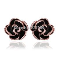 Wholesale Trendy 18K Rose Gold Plated Jewelry Women's Stud Earrings Black Flower E924
